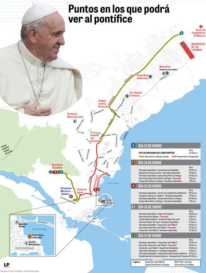 Los 23 desplazamientos del papa Francisco en Panamá