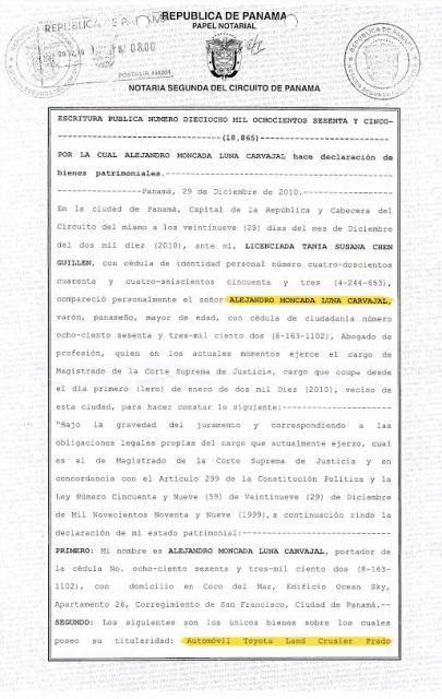 Aquí está la declaración de bienes jurada del magistrado Alejandro Moncada Luna