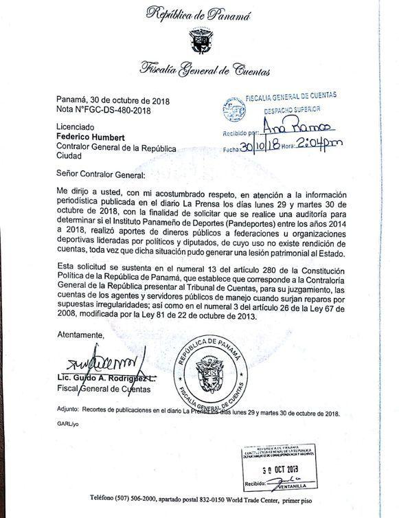 Fiscal de Cuentas pide auditar los dineros que Pandeportes entregó a las federaciones
