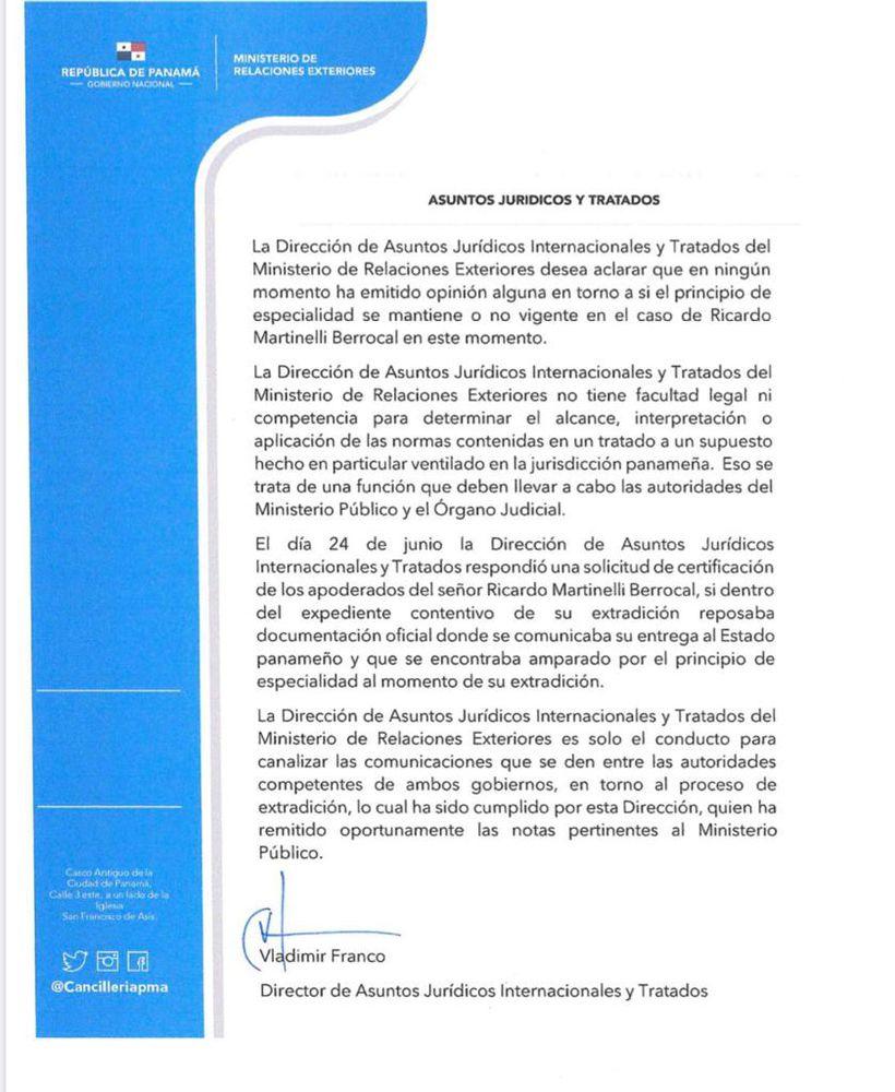 Cancillería aclara que no ha emitido opinión sobre el principio de especialidad de Martinelli