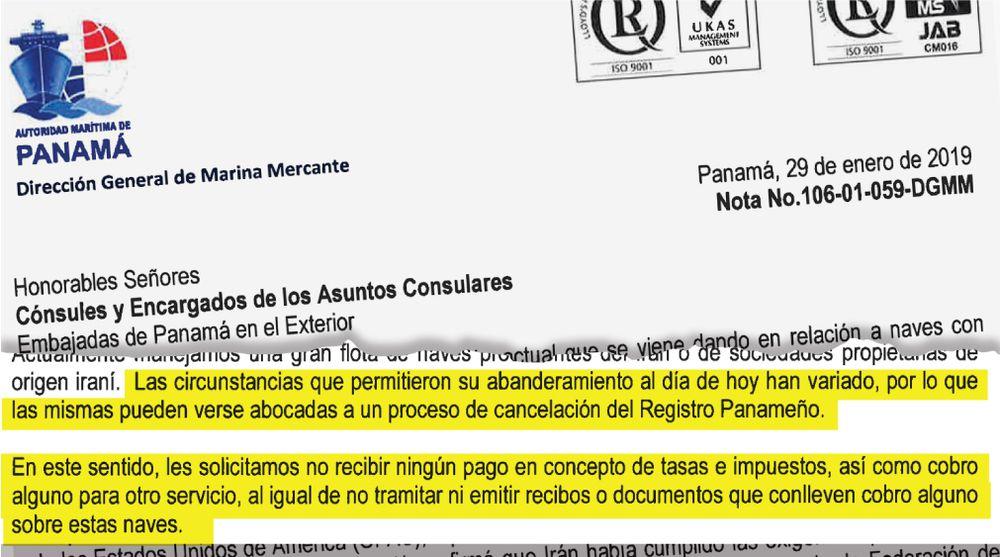 Panamá debe abstenerse de abanderar buques de Irán