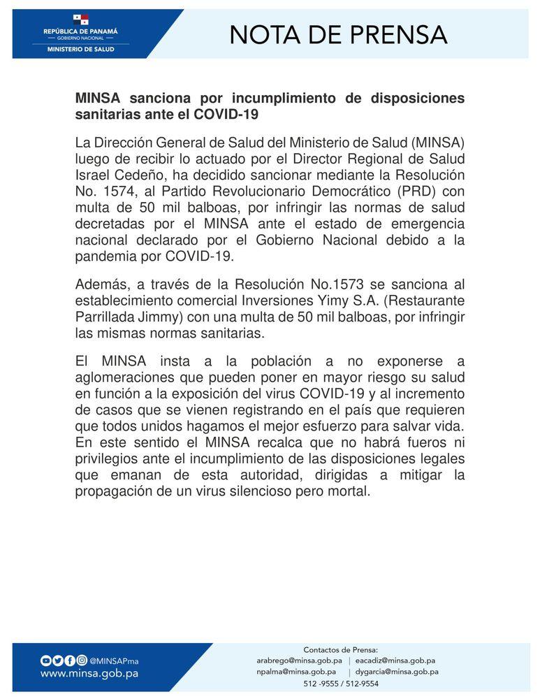 Minsa sanciona al PRD y al restaurante Jimmy's con 50 mil dólares cada uno, por infringir normas sanitarias