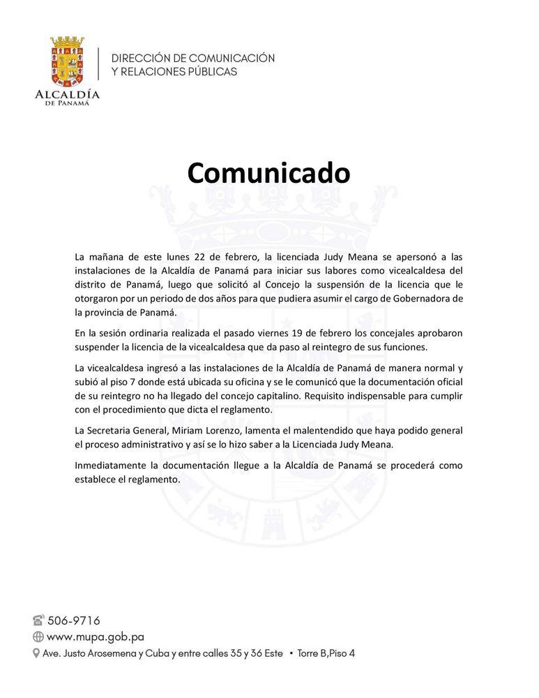 Judy Meana sin poder reintegrarse a su puesto; Concejo no envió resolución a la Alcaldía de Panamá
