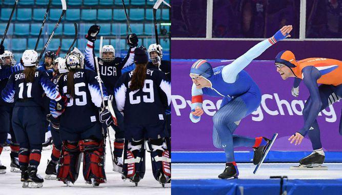 Estados Unidos gana en 'hockey'; noruego logra récord en patinaje
