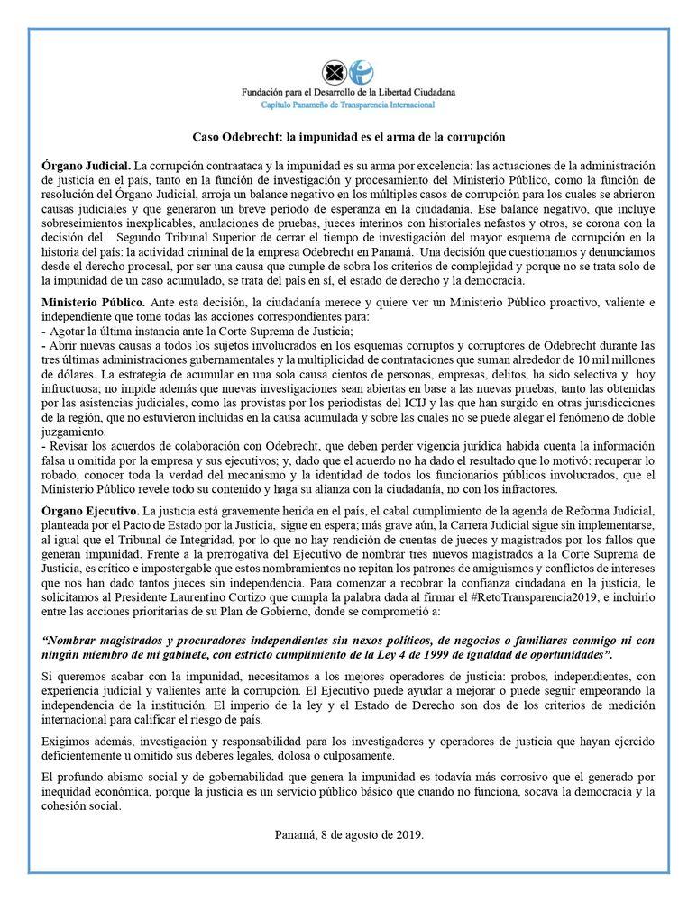 Transparencia Internacional tras fallo del caso Odebrecht: 'La impunidad es el arma de la corrupción'