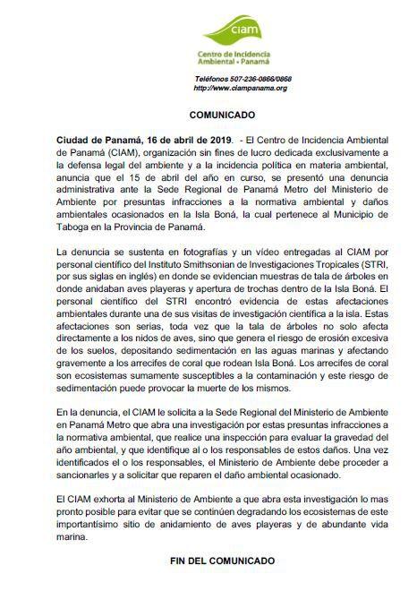 Centro de Incidencia Ambiental presenta denuncia administrativa por supuesta tala en isla Boná