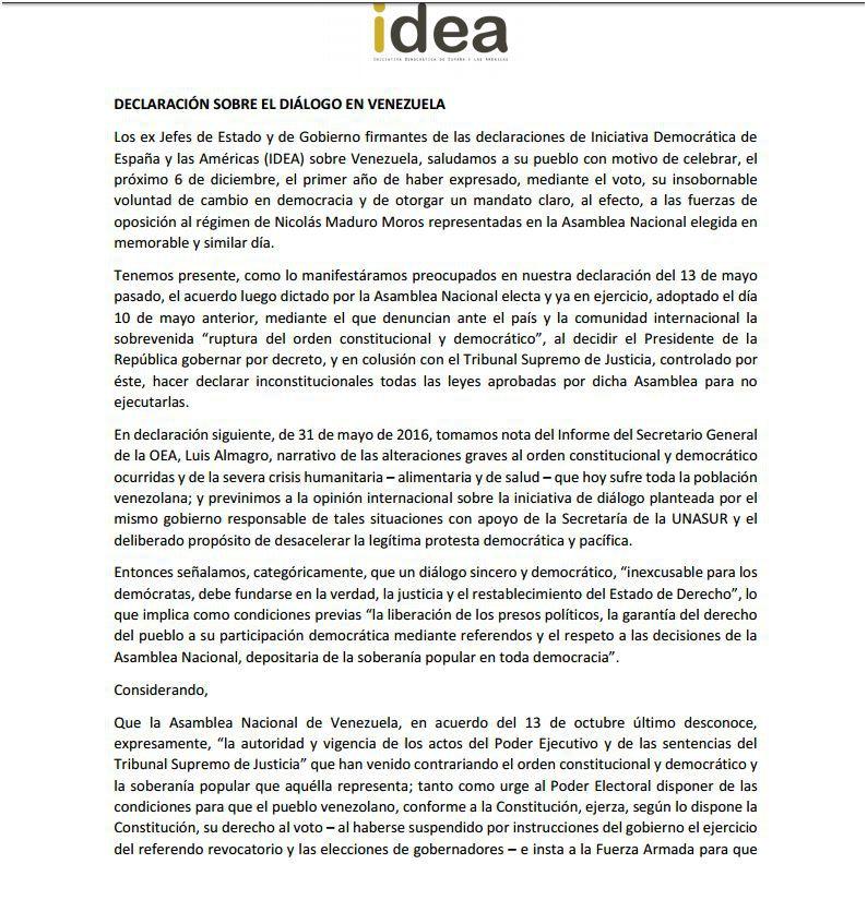 23 expresidentes solicitan a la OEA alternativas para restablecer democracia en Venezuela