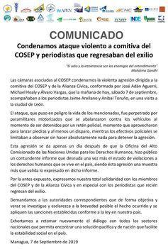 Nicaragua: condenan ataque contra empresarios y periodistas