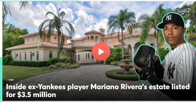El panameño Mariano Rivera pone a la venta su mansión en Tampa en 3.5 millones de dólares