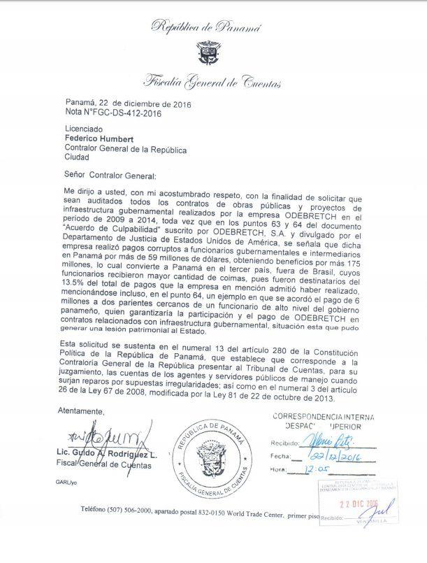 Fiscal de cuentas pide al contralor auditar las obras de Odebrecht en Panamá