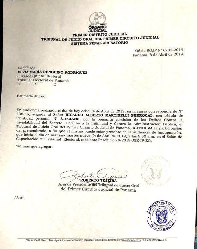 Ricardo Martinelli estará presente en audiencia de impugnación a sus candidaturas