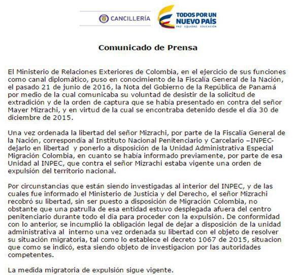 Cancillería colombiana: expulsión de Mayer Mizrachi sigue vigente