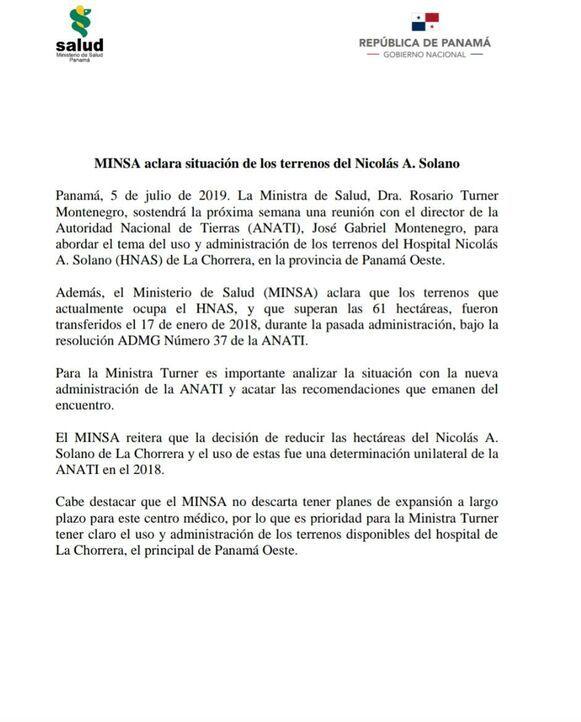 Ministra de Salud tratará con la Anati el tema del uso y administración de los terrenos del Hospital Nicolás A. Solano