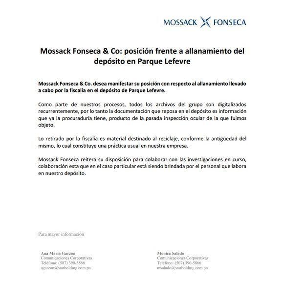 Fiscalía allanó depósito de Mossack Fonseca, para asegurar documentos