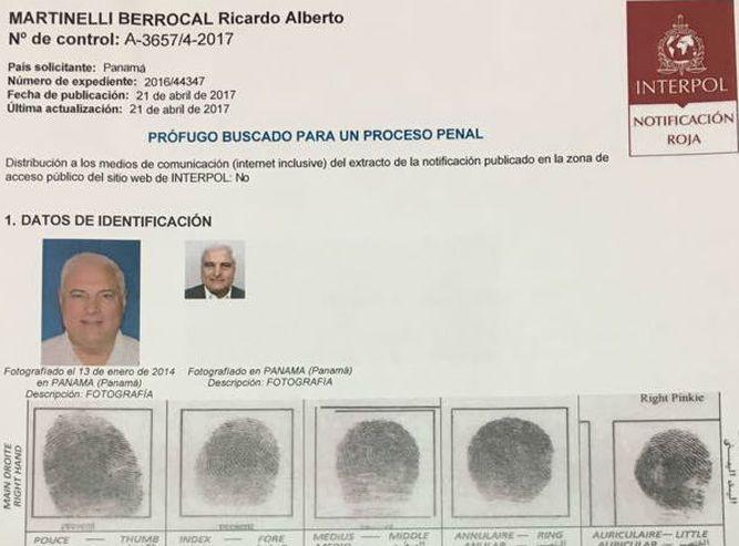 Interpol emite alerta roja para detener al expresidente Ricardo Martinelli