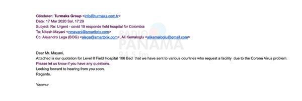Turmask cotizó para Colombia, pero su oferta terminó en la licitación del hospital de Albrook