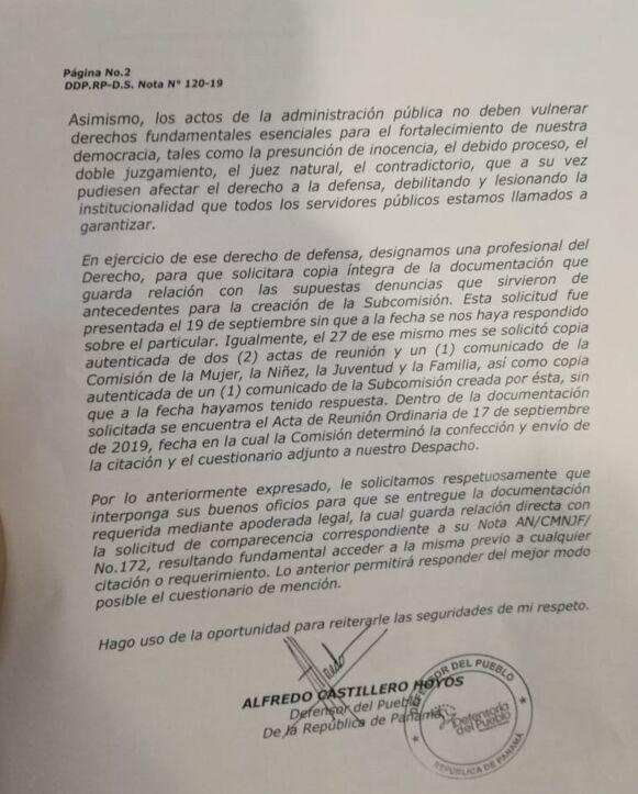 Comisión de la Mujer recomienda al pleno la remoción de Alfredo Castillero Hoyos como defensor del Pueblo