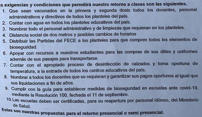 Gremios magisteriales elaboran lista de 10 'condiciones' para el regreso a clases semipresenciales