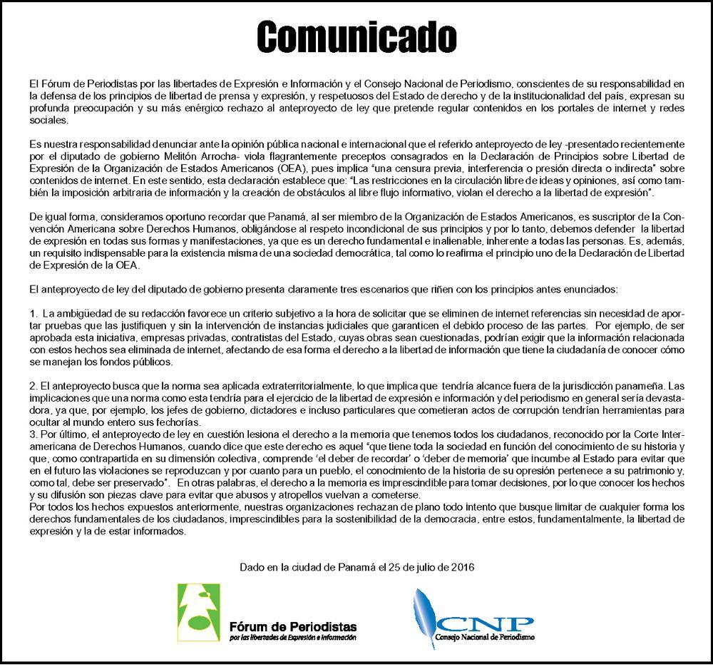 Gremios periodísticos panameños rechazan anteproyecto de ley sobre 'derecho al olvido'