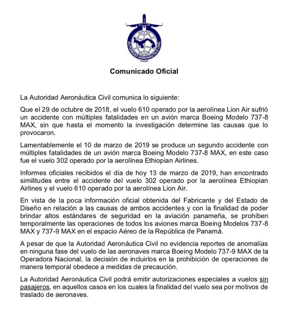 Aeronáutica prohíbe operación de los Boeing MAX en el espacio aéreo panameño