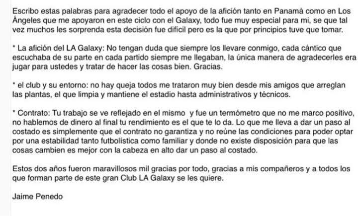 Jaime Penedo deja el Galaxy