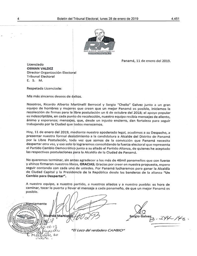 Ricardo Martinelli desiste de candidatura a la Alcaldía de Panamá por libre postulación