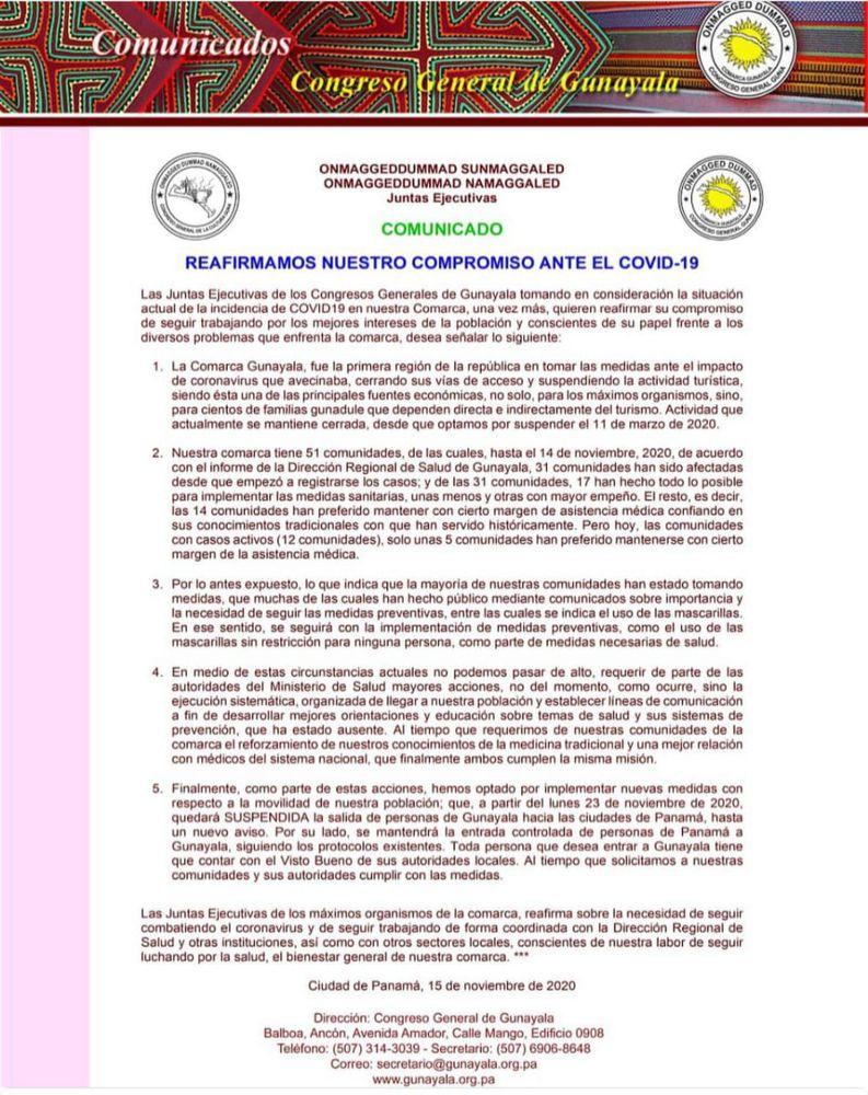 Comarca Guna Yala suspende la salida de sus habitantes desde el 23 de noviembre