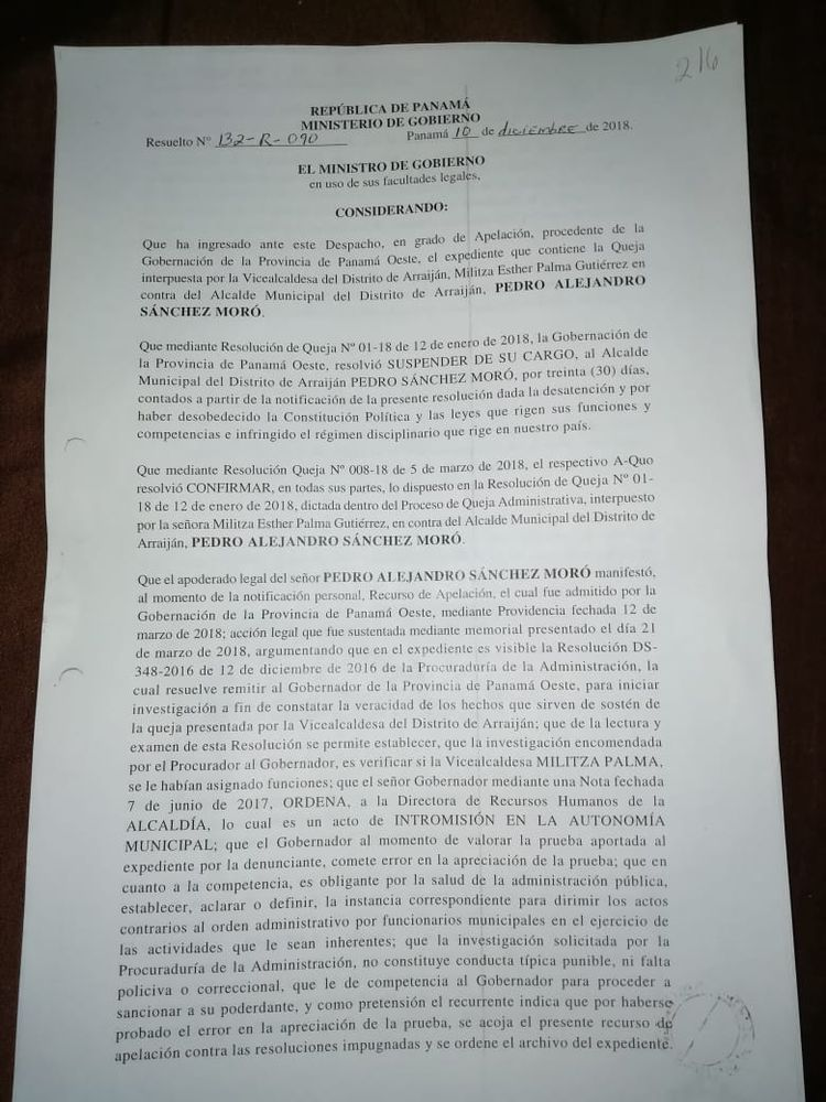 Vicealcaldesa de Arraiján asume control de municipio; alcalde Pedro Sánchez Moro es suspendido