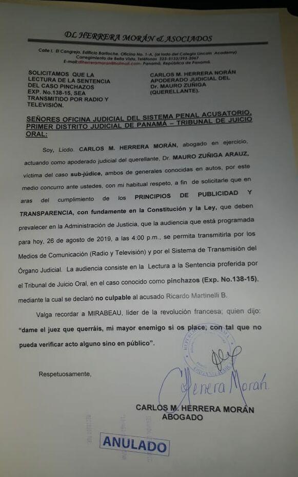 Anulan petición de abogado de querellante para que la lectura de sentencia en caso Martinelli fuese transmitida en directo