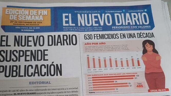 Cierra periódico de Nicaragua golpeado por embargo de papel y tinta del gobierno