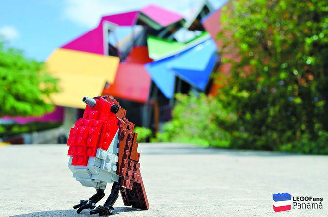 Exhibición de aves de Lego en el Biomuseo