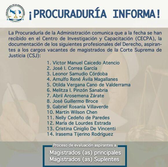 Hasta la fecha hay 14 aspirantes a los cargos de magistrados de la CSJ