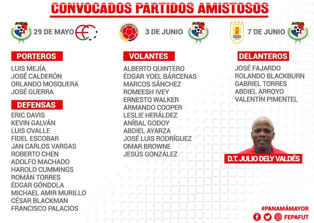 Dely Valdés revela lista de convocados para amistosos de Panamá